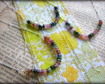 Mixed Colors TOURMALINE NECKLACE  - Your Choice of 1 - Chakra Pink Red Dark Green - October Birthstone Gift Wife Girlfriend Best Friend