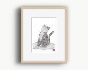 Cat Art, Winter Art, Cat Print, Whimsical, Cat Gifts, Cat illustration, Gray Cat Print