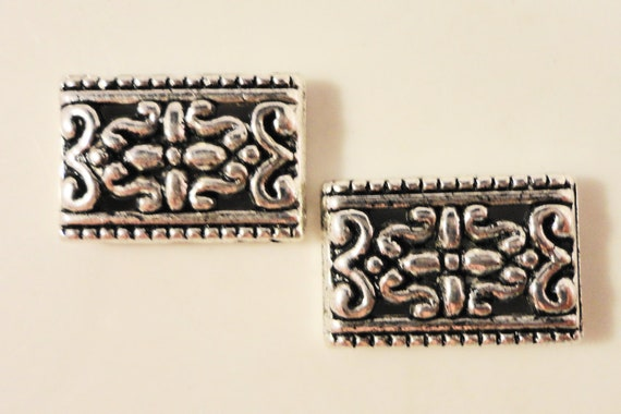 Silver Spacer Beads 17x11mm Antique Silver Tone Metal Three (3) Hole Rectangle Spacer Beads for Jewelry Making 10 Loose Beads per Pack