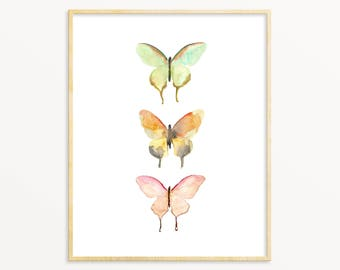 Nursery Art Print. Pastel Watercolor Butterfly Wall Art. Modern Nature Art. Butterfly Poster. Unique Modern Nursery Wall Art.