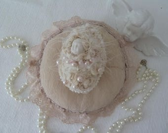 Boudoir Pillow tulle lace blend of beige/pink/apricot Pompom Edwardian style Titanic style decoration CoeursDeCaschel wedding