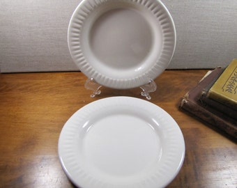 American Commercial China Co. - Creamy White Restaurant Ware - Small Plates - Ribbed Rim - Set of Two (2)