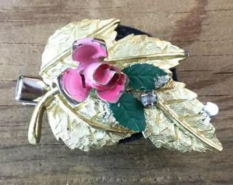 Fairy Hair, Repurposed Vintage, Rose, Leaf, Hair clip