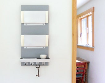 IPHONE MAIL KEY Center Modern Wall Mounted Organizer with Shelf and Key Hooks for Home Entry, Dorm or Office Decor.