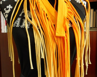 Yellow Ombre Fringe T-Shirt Scarf