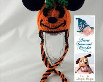 Crochet Pattern 066 - Mouse O' Lantern Pumpkin Hat