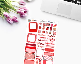 RED RAINBOW SAMPLER Planner Stickers - CAM00290