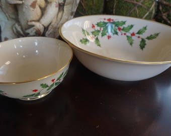 Vintage, Lenox Christmas Holly Chip and Dip Bowl Set