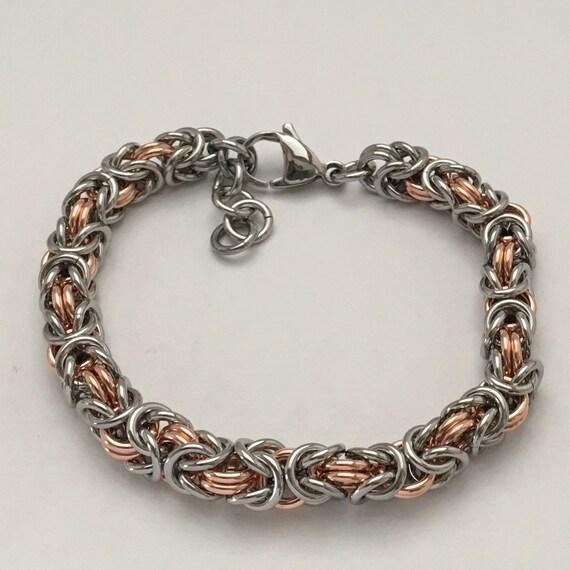 Stainless steel / Copper byzantine bracelet unisex everyday jewelry