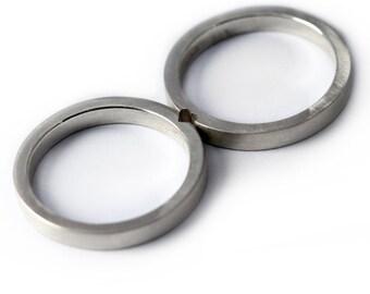 Secret Promise Ring, 4mm Custom Sterling Silver Band set heart rings wedding ring set , couple ring set, Matching bands, Mens wedding band
