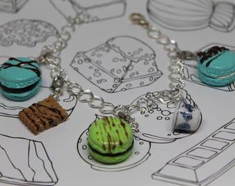 Macaroon and Tea Time Dessert Charm Bracelet/ Sweet Treats Bracelet Charms/ Fake Dessert Food/ Miniature Polymer Clay