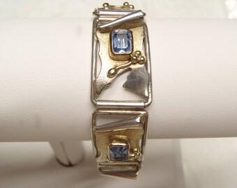 Sterling Silver Blue Topaz and Gold Bracelet Unique Design