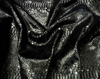 """Metallic Leather 8""""x10"""" MYSTIC Anthracite on Black Cowhide 3-3.5 oz / 1.2-1.4 mm PeggySueAlso™ E2868-39 Full hides available"""