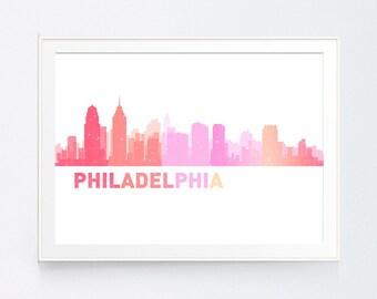 Philadelphia Skyline, Philadelphia Pennsylvania, Cityscape Art Print, Map Art, Philadelphia Poster, Philadelphia Art, INSTANT DOWNLOAD