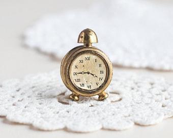Miniature clock_brass miniature_Holland collectible_golden metal clock_alarm clock_toy house roombox_brass toy clock_vintage retro toy