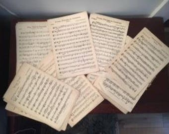 Sheet Music - Vintage - decoupage - craft supplies - musical notes - decorating paper - songs - wrapping paper -  collage