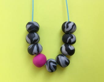 Clay bead necklace, statement necklace, pink necklace, beaded necklace, monochrome necklace, chunky necklace, vegan jewelry, black necklace