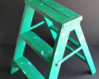 Farmhouse Step ladder. Rustic, solid wood folding 2 step stool. Turquoise.