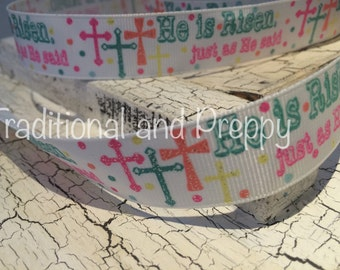 "7/8"" Spring Easter Glitter Cross He is Risen grosgrain ribbon"