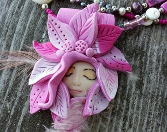 One of A Kind Artisan Necklace  Forest Fairy 'Amilliana' Wearable Art, Boho Style, Fairy Jewelry, OOAK, Ready to Ship Now, #7701