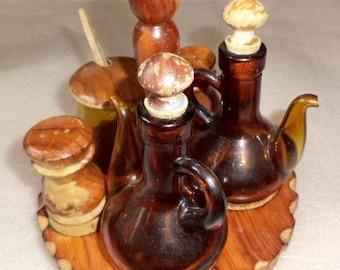 Vintage 7pc condiment set hand carved wood amber glass cruets honey jar wooden lids stand