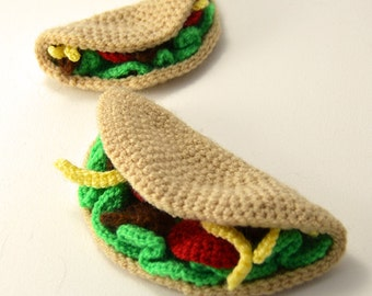Large and Small Tacos Crochet Pattern, Amigurumi Taco Pattern, Taco Crochet Pattern, Taco Amigurumi Pattern, Toy Food Crochet Pattern