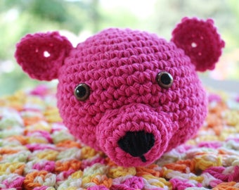 Pink Teddy Bear Lovey Security blanket 100% Cotton