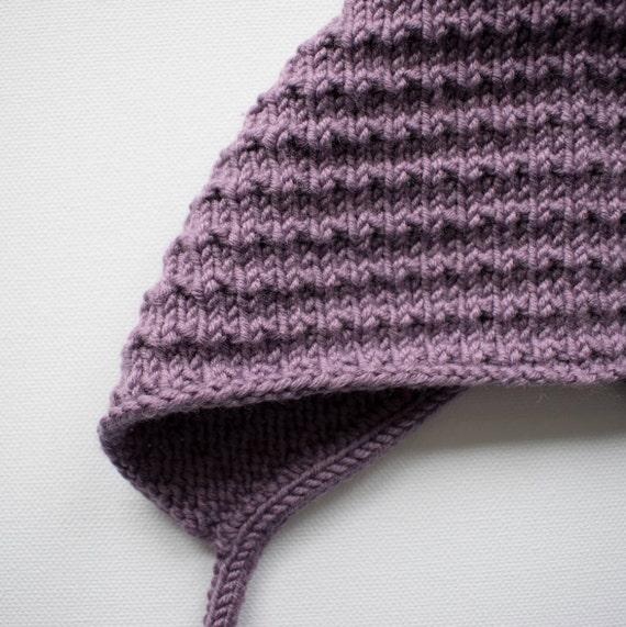 Bracken Bonnet in Mauve Merino Wool - Sizes Newborn to 24 months - Pre-Order