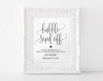 Bubble Send Off Sign, Blow Bubbles Sign, Wedding Send Off, Wedding Sign, Wedding Printable, Send Off Ideas, PDF Instant Download #BPB203_80