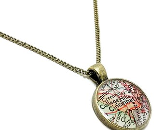Cincinnati Map Necklace. Cincinnati Necklace. Made With A 1951 Vintage Map. Ready To Ship. Ohio Map Pendant. Resin Jewelry. Mother's Day.