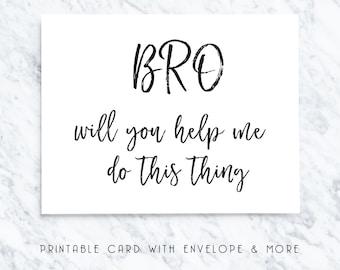 printable bro card, printable groomsmen card, printable best man card, download best man card, bridal party card