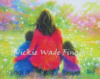 Mother Son & Daughter Art Print, garden mother, Mother's day gift, boy and girl, painting, wall art, brother and sister, Vickie Wade art