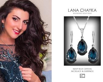 Navy Blue Crystal Jewelry Set, Swarovski Montana Blue Silver Set, Dark Blue Earrings&Necklace Bridal Set, Prom Jewelry, Bridesmaids Jewelry