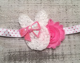READY TO SHIP Easter Bunny Headband.  Baby's First Easter.