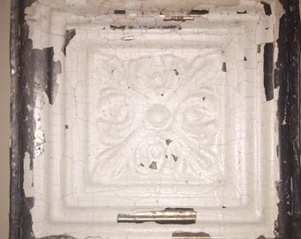 Ceiling Tin Tile Wall Plaque Trimmed with Barnwood