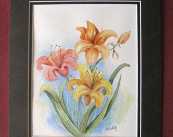 Original Watercolor Art  Flower Painting Floral Art