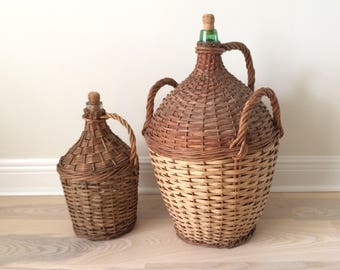 Vintage French Country Wicker Wrapped Glass Demijohns // large and medium size Demijohn bottles / green and clear glass with wicker handles