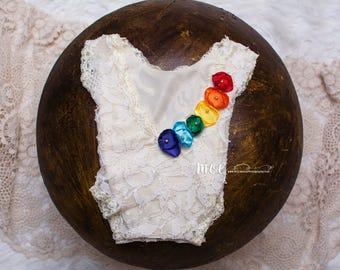 Newborn Rainbow Baby Romper - Gorgeous lace rainbow baby romper - perfect rainbow baby accessory  - stretchy lace romper