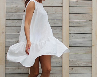 Linen summer dress / Sleeveless dress / Day dress / loose fit dress