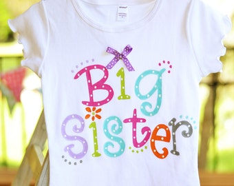 big sister tee, bright colors with ribbon and polka dots for big sister to be, sibling shirt, big sis little brother, little sister shirt