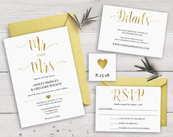 Printable Wedding Invitation Template, Gold Wedding Invitation Printable, Mr and Mrs Wedding Invitation Set Suite, Gold Wedding Invitations