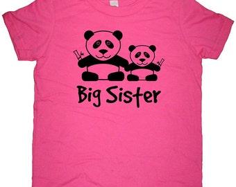 Panda Big Sister Shirt - 8 Colors Available - Kids Adorable Panda Bear Big Sister T shirt Sizes 2T, 4T, 6, 8, 10, 12 - Big Sister Gift Idea