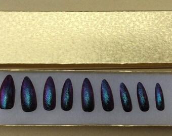 set of 20- Hand painted green/purple flake false nails - press on nails - Fake Nails - set of 20 any style - flake
