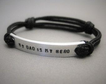 "Kids Bracelet, ""my dad is my hero"" in all caps, Stamped Kids Bracelet, with adjustable cord, Bracelet for Boys, Bracelet for Girls, Children"