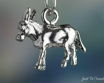 Sterling Silver Burro Donkey or Mule Charm Animal Mexico 3D Solid .925