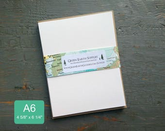 """100 A6 FLAT Cards & Envelopes, 100% Recycled Invitations/Post Cards with Envelopes, 4 5/8 x 6 1/4"""", 80-100lb, White or Natural White Cards"""