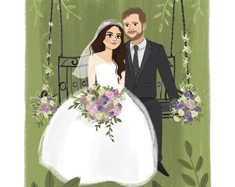 Custom Wedding Portrait. Custom illustration. 1st anniversary gift.