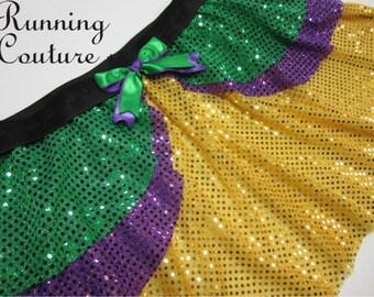 2X Mardi gras inspired three layer sparkle running skirt green purple and yellow