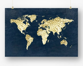 Large world map poster gray download world map wall decor large world map printable digital download faux gold geometric abstract map of the world poster wall gumiabroncs Images