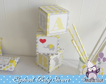 Cube x 3 - Elephant baby shower - yellow and gray - sweet table - small dots diamonds stripes